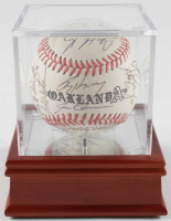 1988 Athletics Logo Baseball Team-Signed by (33) With Dennis Eckersley, Tony La Russa, Don Baylor, Mark McGwire With Display Case (PSA LOA) at PristineAuction.com