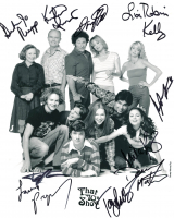 """That 70s Show"" Signed 8x10 Photo by (11) with Topher Grace, Mila Kunis, Ashton Kutcher, Laura Prepon, Kurtwood Smith, Danny Masterson, Tanya Roberts, Don Stark, Debra Jo Rupp, Lisa Robin Kelly (JSA LOA) at PristineAuction.com"
