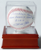 """Pete Rose Signed OML Baseball Inscribed """"President Trump Make America Great Again"""" With Display Case (PSA COA) at PristineAuction.com"""