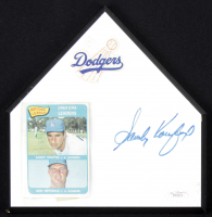 Sandy Koufax Signed Dodgers Home Plate with Sandy Koufax / Don Drysdale 1965 Topps #8 NL ERA Leaders Card (JSA LOA) at PristineAuction.com