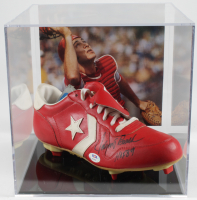 """Johnny Bench Signed Converse Baseball Vintage Cleat Inscribed """"HOF 89"""" With Display Case (PSA COA) at PristineAuction.com"""
