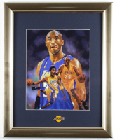 Kobe Bryant Lakers 13x16 Custom Framed Textured Art Print Display with Lakers Pin at PristineAuction.com