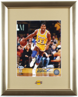 Magic Johnson Signed Lakers 13x16 Custom Framed Photo Display with Lakers Pin (Beckett COA) at PristineAuction.com