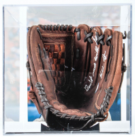 """Nolan Ryan Signed Spalding Baseball Glove Inscribed """"Don't Mess With Nolan!"""" with Display Case (PSA COA) at PristineAuction.com"""
