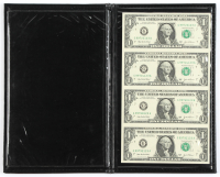 US Currency Notes Display Folder with (4) Series 2003A $1 One Dollar Bills at PristineAuction.com