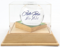 """Pete Rose Signed Heavy Lead Crystal Baseball Inscribed """"Hit King"""" with Wooden Base (PSA COA) at PristineAuction.com"""