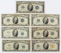 Lot of (7) $10 Ten-Dollar U.S. Silver Certificates with 1934, 1934-A Blue Seal, 1934-A North Africa Gold Seal, 1934-C, 1934-D, 1953, & 1953-B at PristineAuction.com