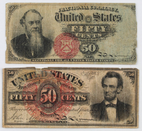 Lot of (2) 1869-1875 Fourth Issue 50¢ Fifty-Cent U.S. Fractional Currency Bank Notes with Fr. 1374 Abraham Lincoln & Fr. 1376 Edwin Stanton at PristineAuction.com