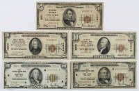 Lot of (5) 1929 U.S. National Currency Bank Notes with $100, $50, $20, $10, & $5 at PristineAuction.com