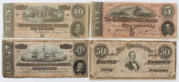 Lot of (4) 1864 Confederate Bank Notes with $50, $20, $10, & $5 at PristineAuction.com