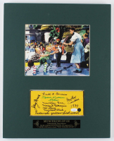 """""""The Wizard of Oz"""" 16x20 Custom Matted Display Cast-Signed By (7) With Jerry Maren, Mickey Carroll, Karl Slover, Ruth Duccini, Meinhardt Raabe with Multiple Inscripitons (JSA COA) at PristineAuction.com"""