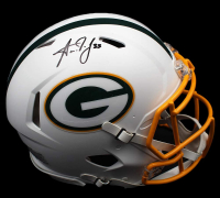 Aaron Jones Signed Packers Full-Size Authentic On-Field Matte White Speed Helmet (Radtke COA) at PristineAuction.com