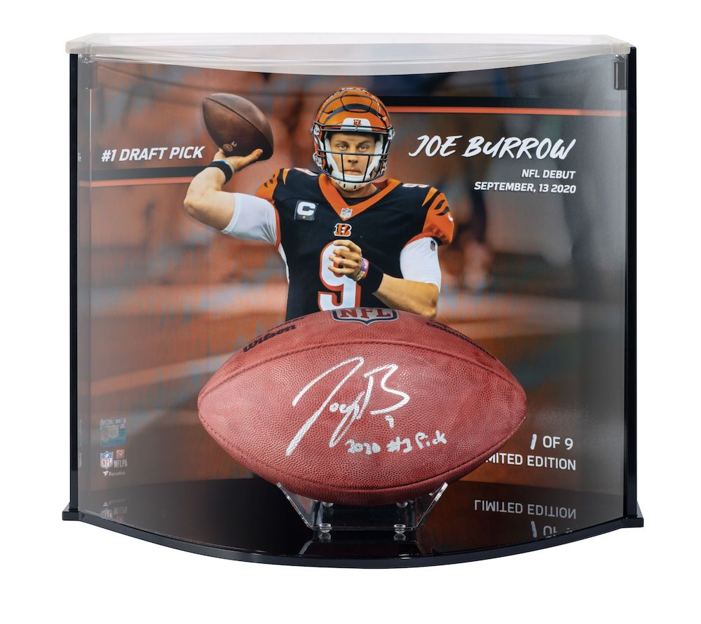 """Joe Burrow Signed LE Official """"The Duke"""" Game Ball with Custom Curve Display Inscribed """"2020 #1 Pick"""" (Fanatics Hologram) at PristineAuction.com"""
