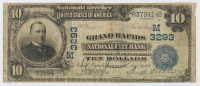 1902 $10 Ten-Dollar U.S. National Currency Large-Size Bank Note - The Grand Rapids National City Bank of Grand Rapids, Michigan at PristineAuction.com