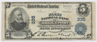 1902 $5 Five-Dollar U.S. National Currency Large-Size Bank Note - The First National Bank of Bridgeport, Connecticut at PristineAuction.com