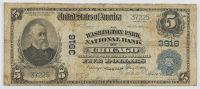 1902 $5 Five-Dollar U.S. National Currency Large-Size Bank Note - The Washington Park National Bank of Chicago, Illinois at PristineAuction.com
