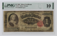 1891 $1 One-Dollar U.S. Silver Certificate Large-Size Bank Note (PMG 10) at PristineAuction.com