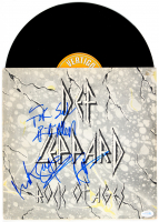 "Rick Allen, Rick Savage & Joe Elliott Band-Signed Def Leppard ""Rock of Ages"" Vinyl Record Album (AutographCOA Hologram) at PristineAuction.com"