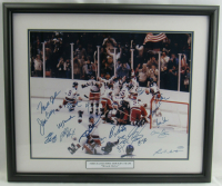 "1980 ""Miracle on Ice"" Team USA 22x26 Custom Framed Photo Display Team-Signed by (20) with Mike Eruzione, Jim Craig, Bill Baker, Dave Christain, Steve Christoff (Steiner Hologram) at PristineAuction.com"