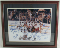 "1980 ""Miracle on Ice"" Team USA 22x26 Custom Framed Photo Display Team-Signed by (20) with Mike Eruzione, Jim Craig, Bill Baker, Dave Christain Inscribed ""If You 'Believe' Miracles Can Happen!"" (JSA LOA) at PristineAuction.com"