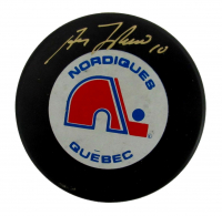Guy Lafleur Signed Nordiques Logo Hockey Puck (PSA COA) at PristineAuction.com