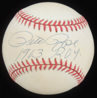 """Pete Rose Signed ONL Baseball Inscribed """"1963 R.O.Y."""" (Beckett COA) at PristineAuction.com"""