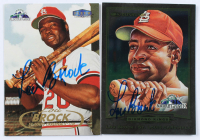 Lot of (2) Lou Brock Signed Baseball Cards with 1998 FanFest Brock #4 & 1998 FanFest Brock #3 (Stacks of Plaques COA) at PristineAuction.com