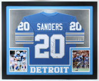 Barry Sanders Signed 35x43 Custom Framed Jersey (JSA COA & Schwartz COA) (See Description) at PristineAuction.com