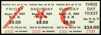 Woodstock Authentic Three Day Unused Ticket from August 15, 16, 17, 1969 at PristineAuction.com
