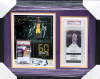 Kobe Bryant Lakers 17x20.5 Custom Framed Display with 2017-18 Panini Chronicles Autographs Purple #27 & Final Game Unused Ticket (PSA 10 & 8) at PristineAuction.com