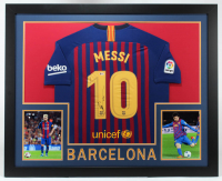 "Lionel Messi Signed 35x43 Custom Framed Jersey Inscribed ""Leo"" (Beckett Hologram) (See Description) at PristineAuction.com"
