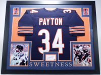 Walter Payton Signed 35x43 Custom Framed Cut Display With Jersey (Payton LOA) at PristineAuction.com