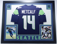 D. K. Metcalf Signed 35x43 Custom Framed Jersey (JSA COA) at PristineAuction.com