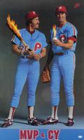 Mike Schmidt & Steve Carlton Signed Phillies 22x36 Vintage MVP & CY Nike Poster (JSA COA) at PristineAuction.com