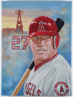 Mike Trout Angels 18x24 Art Print on Canvas at PristineAuction.com