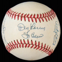 OAL Baseball Signed by (6) with Don Larsen, Yogi Berra, Enos Slaughter, Gil McDougald, Hank Bauer, Andy Carey (JSA COA) at PristineAuction.com