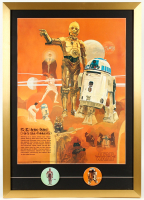 C-3P0 & R2-D2 22x31 Custom Framed 1977 Original Coca Cola Promotion Only Poster Display with Original 1977 Matching Pin Set at PristineAuction.com