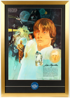 "Star Wars 22x31 Custom Framed 1977 Original Coca Cola Promotion Only Poster Display with Original 1977 ""May the Force Be With You"" Pin at PristineAuction.com"
