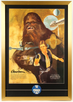 "Chewbacca & Han Solo 22x31 Custom Framed 1977 Original Coca Cola Promotion Only Poster Display with 1977 ""May The Force Be With You"" Lapel Pin at PristineAuction.com"