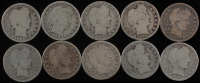 Lot of (10) 1897-1916 Barber Silver Quarter Dollars at PristineAuction.com