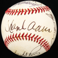 MLB Hall of Famers and Stars OAL Baseball Signed by (6) with Hank Aaron, Gaylord Perry, Fergie Jenkins, Larry Doby, Robin Yount & Tony Oliva with Inscription (JSA LOA) at PristineAuction.com