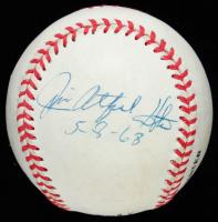 """Jim """"Catfish"""" Hunter & Don Larsen Signed ONL Baseball Inscribed """"5-8-68"""" & """"10-8-56"""" (JSA Hologram) at PristineAuction.com"""