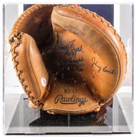 Johnny Bench Signed 1970's Vintage Rawlings Catcher's Glove with Multiple Inscriptions with Display Case  (PSA COA) at PristineAuction.com