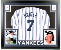 Mickey Mantle Yankees 35x43 Custom Framed Jersey Display at PristineAuction.com