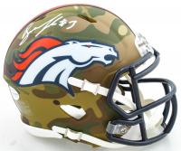 Drew Lock Signed Broncos Camo Alternate Speed Mini Helmet (Beckett COA) at PristineAuction.com