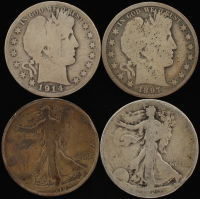 Lot of (4) Silver Half Dollars with 1897 Barber, 1914-S Barber, 1918-S Walking Liberty, & 1920 Walking Liberty at PristineAuction.com