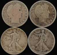 Lot of (4) Silver Half Dollars with 1904 Barber, 1908-D Barber, 1918 Walking Liberty, & 1944-D Walking Liberty at PristineAuction.com