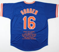 "Dwight ""Doc"" Gooden Signed Career Highlight Stat Jersey (JSA COA) at PristineAuction.com"
