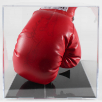 Everlast Boxing Glove Signed by (4) With Jake LaMotta, Ken Norton, Carmen Basilio & Earnie Shavers With Display Case (PSA LOA) at PristineAuction.com