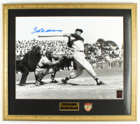 Ted Williams Signed Red Sox 20x24 Custom Framed Photo Display with Vintage Ted Williams Triple Crown Winner Lapel Pin (Ted Williams COA) at PristineAuction.com